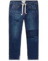 Remi Relief Slim-fit Tapered Patchwork Denim Drawstring Jeans - Blue