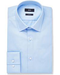 BOSS by Hugo Boss - Blue Jenno Slim-fit Cotton Oxford Shirt - Lyst