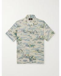 RRL Convertible-collar Printed Linen-blend Shirt - Blue