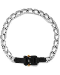 1017 ALYX 9SM Leather-trimmed Silver-tone Chain Necklace - Black