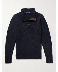 Peter Millar Merino Wool-blend Bouclé Half-placket Jumper - Blue
