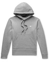 Acne Studios Ferris Logo-appliquéd Fleece-back Cotton-jersey Hoodie - Gray