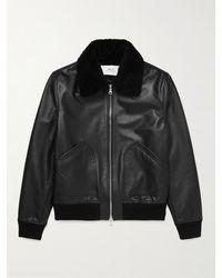 MR P. Shearling-trimmed Leather Bomber Jacket - Black