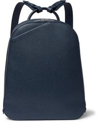 Valextra My Logo Pebble-grain Leather Backpack - Blue