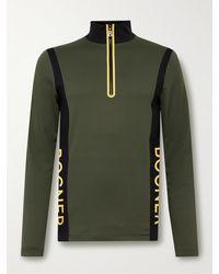 Bogner Leron Colour-block Stretch-jersey Half-zip Base Layer - Green