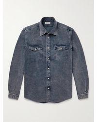 Boglioli Washed Denim Shirt - Blue