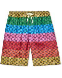 Gucci Wide-leg Mid-length Striped Logo-print Swim Shorts - Multicolor