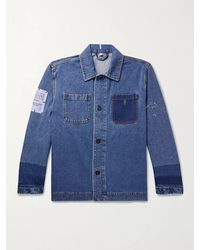 McQ Appliquéd Embroidered Denim Jacket - Blue