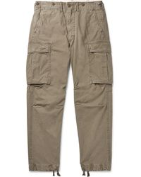 RRL Slim-fit Tapered Washed-cotton Cargo Pants - Green