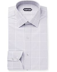 Tom Ford - Grey Slim-fit Prince Of Wales Checked Cotton-poplin Shirt - Lyst