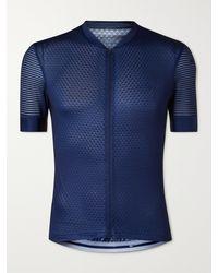 Café du Cycliste Micheline Mesh-panelled Cycling Jersey - Blue