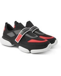 Prada - Cloudbust Mesh, Rubber And Leather Trainers - Lyst