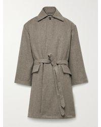 Monitaly Jute Belted Wool-blend Flannel Coat - Multicolour