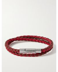 Tod's Woven Leather And Silver-tone Bracelet - Red