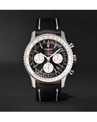 Breitling Navitimer 01 Chronograph 43mm Stainless Steel And Leather Watch, Ref. No. Ab012012/bb01 - Black