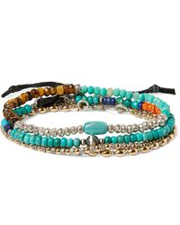Peyote Bird Set Of Three Sterling Silver, Turquoise And Multi-stone Bracelets - Blue