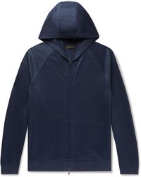 Loro Piana Linen-blend Zip-up Hoodie - Blue