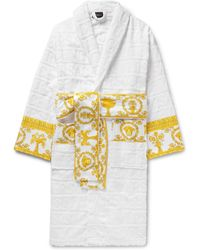 Versace - Satin-trimmed Logo-jacquard Cotton-terry Robe - Lyst