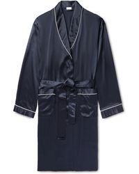 Zimmerli Piped Silk-satin Robe - Blue