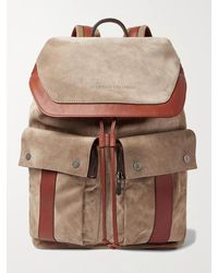 Brunello Cucinelli Leather-trimmed Suede Backpack - Brown