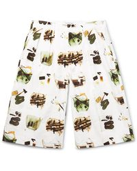 Flagstuff Wide-leg Printed Cotton Shorts - White
