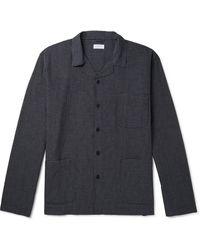 Sunspel Camp-collar Striped Cotton-poplin Pyjama Shirt - Black