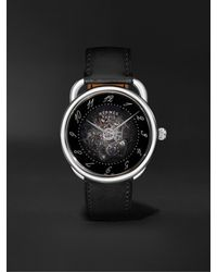 Hermès Arceau Squelette Automatic 40mm Stainless Steel And Leather Watch - Black