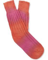 The Elder Statesman Hot Yosemite Tie-dyed Cashmere Socks - Orange