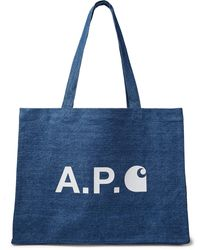 A.P.C. + Carhartt Wip Logo-print Denim Tote Bag - Blue