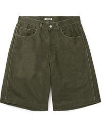 AURALEE Organic Cotton-canvas Shorts - Green