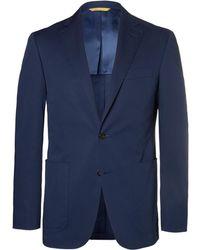 Canali - Navy Slim-fit Stretch-cotton Suit Jacket - Lyst