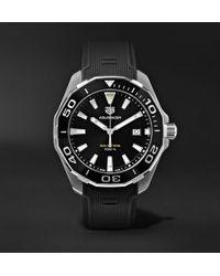 Tag Heuer - Aquaracer Quartz 43mm Steel And Rubber Watch - Lyst