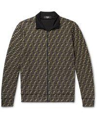 Fendi Logo-print Tech-jersey Track Jacket - Brown