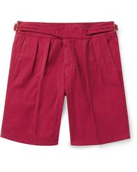 Rubinacci Manny Garment-dyed Pleated Cotton-twill Shorts - Red