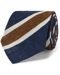 Kiton 8cm Striped Mélange Cotton Tie - Blue