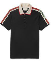 Gucci Taped Logo Polo - Black