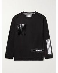 TAKAHIROMIYASHITA TheSoloist. Oversized Zip-detailed Cutout Printed Cotton-jersey Sweatshirt - Black