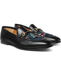 Gucci - Brixton Horsebit Collapsible-heel Appliquéd Leather Loafers - Lyst