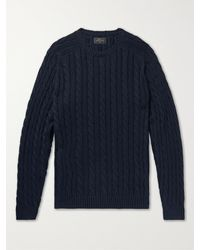 Beams Plus Cable-knit Cotton And Hemp-blend Jumper - Blue