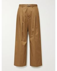 JW Anderson Wide-leg Belted Pleated Cotton-twill Pants - Brown