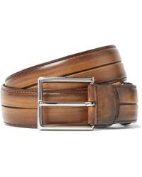 Berluti Brown Polished Venezia Leather Belt
