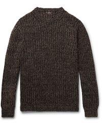 Mp Massimo Piombo Ribbed Mélange Merino Wool Sweater - Black