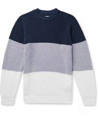 Albam Colour-block Waffle-knit Cotton Sweater - Blue