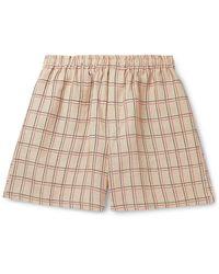 Bode Checked Linen Drawstring Shorts - Natural