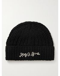 Rag & Bone Logo-embroidered Ribbed-knit Gloves - Black