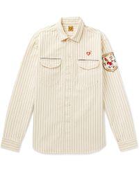 Human Made Striped Cotton-drill Overshirt - Natural