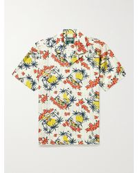 Gitman Vintage Camp-collar Printed Recycled Shirt - White