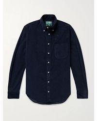 Gitman Brothers Vintage Slim-fit Button-down Collar Cotton-corduroy Shirt - Blue