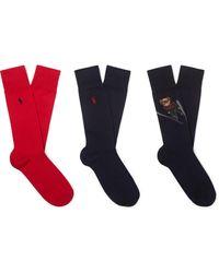 Polo Ralph Lauren - Three-pack Cotton-blend Socks - Lyst