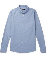 A.P.C. - Button-down Collar Mélange Cotton Oxford Shirt - Lyst